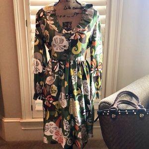 J. Crew Silk Scoop Neck Ruffle Collar Print Dress